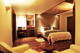 luxury room of lodge with double bed